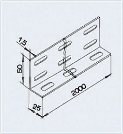 Разделитель лотковый РЛ 2500х150 УТ1,5 S=1,0 мм.